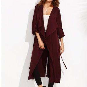 Jackets & Blazers - Rolled Up Sleeve Split Back Self Tie Outerwear